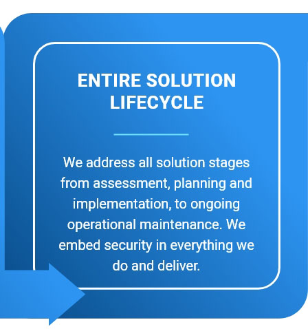 Entire Solution Lifecycle - We address all solution stages from assessment, planning and implementation, to ongoing operational maintenance. We embed security in everything we do and deliver.