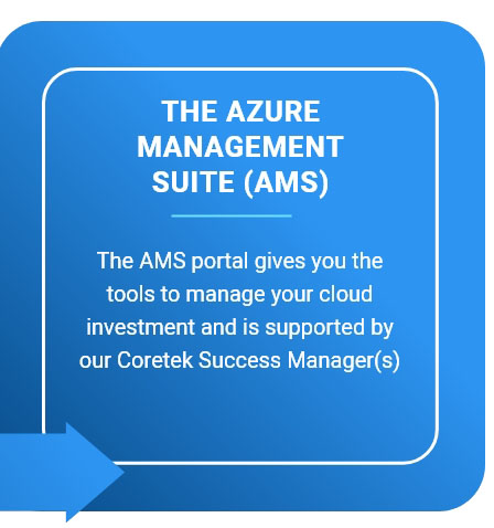 The Azure Management Suyite (AMS) - The AMS portal gives you the tools to manage your cloud investment and is supported by our Coretek Success Manager(s)