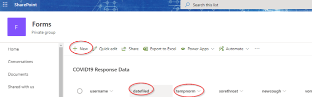 Creating SharePoint List for COVID-19 Response Data