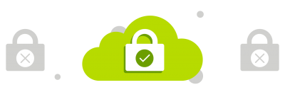 Cloud with a lock icon on it