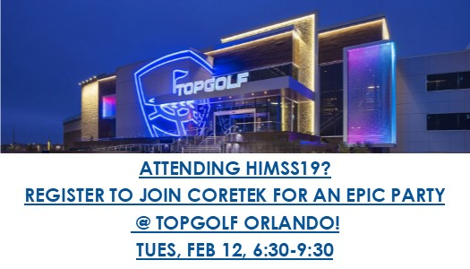 HIMSS 2019 TOPGOLF PARTY: TUESDAY, FEB 12 @ G:30-9:30 PM